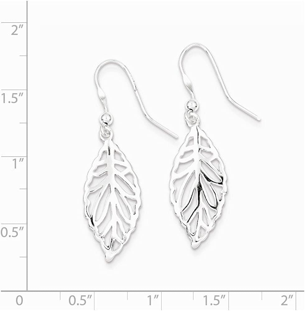 25mm x 11mm Mia Diamonds 925 Sterling Silver Solid Polished Leaf Dangle Earrings