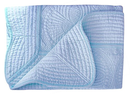 Handmade Infant Toddler Blanket - Lullaby Baby Infant Blankets All Weather Lightweight Embossed Quilt, Blue