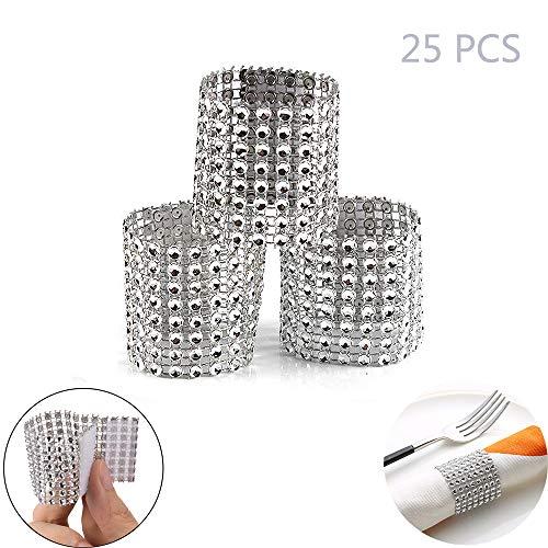 (Jurxy 25PCS Rhinestone Napkin Rings Napkin 8 Row Plastic Mesh Diamond Napkin Buckle Napkin Holder Adornment for Wedding Party Birthday Supplies - Silver )