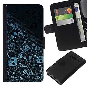 All Phone Most Case / Oferta Especial Cáscara Funda de cuero Monedero Cubierta de proteccion Caso / Wallet Case for Samsung Galaxy Core Prime // Wallpaper Skulls Skeleton Drawing Sketch