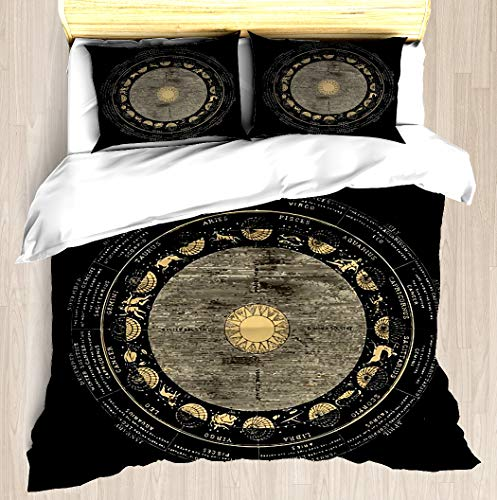 NTCBED Smith's Illustrated Astronomy Signs of The Zodiac Duvet Cover Set Soft Comforter Cover Pillowcase Bed Set Unique Printed Floral Pattern Design Duvet Covers Blanket Cover Queen/Full Size -