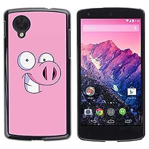 Be Good Phone Accessory // Dura Cáscara cubierta Protectora Caso Carcasa Funda de Protección para LG Google Nexus 5 D820 D821 // Piggy Pig Cartoon Eyes Funny