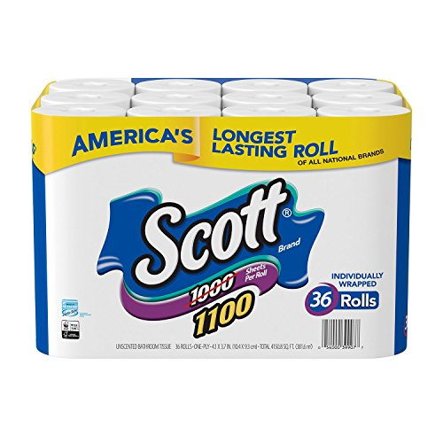 Scott 1000 Sheets Per Roll Toilet Paper,36 Rolls Bath Tissue by Scott (Image #1)