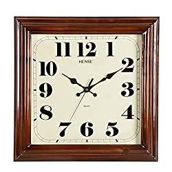 HENSE Solid Wood Square Wall Clocks Silent Mute Quartz Movement Sweep Second Hand Clock, Best Decor for Home Kitchen Living Room HW32( Dark Brown)