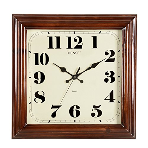 Silent Square - HENSE Solid Wood Square Wall Clocks Silent Mute Quartz Movement Sweep Second Hand Clock, Best Decor for Home Kitchen Living Room HW32( Dark Brown)