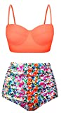 Swiland Women Vintage Swimsuits High Waisted Bikinis Bathing Suits Retro Halter Underwired Top