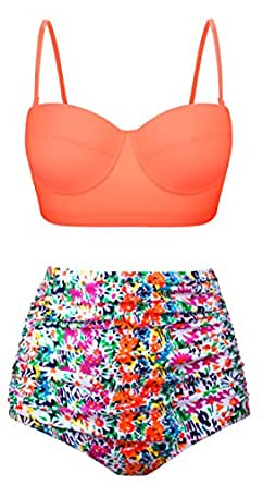 Fancyskin Women's High Waisted Swimsuits Vintage  Strappy Bikinis Two Piece,Multi-colored,US 10-12=Tag Size 2XL