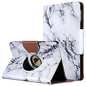 iPad Mini 4 Case, ULAK 360 Degree Rotating Smart Synthetic Leather Stand Case Cover for Apple iPad Mini 4 (2015 Release) with Auto Sleep/Wake Function (Artistic-marble pattern)