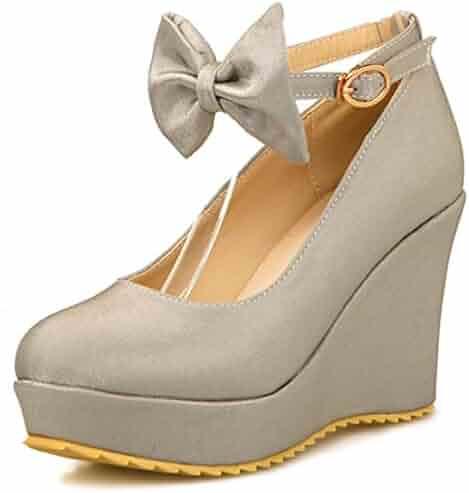 e1de424edc DecoStain Women's Satin Bow Tie Ankle Strap Wedge Heel Platform Pumps Shoes
