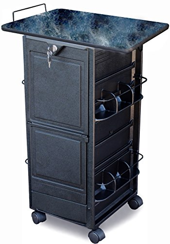 N20-PT Salon SPA Roll-about Cart w/Lockable door & 109-BLK MARBLE TOP MADE IN USA by Dina Meri