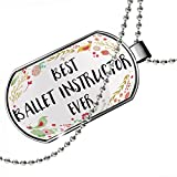 Dogtag Happy Floral Border Ballet Instructor Dog tags necklace - Neonblond