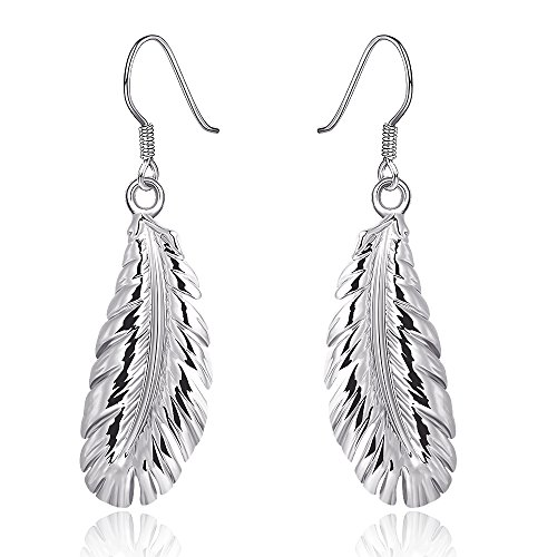 DreamSter 18K Rose Gold Plated Feather Drop Dangle Earrings for Women Girls Fashion Feather Earrings, by (B - 18K White Gold Plated)