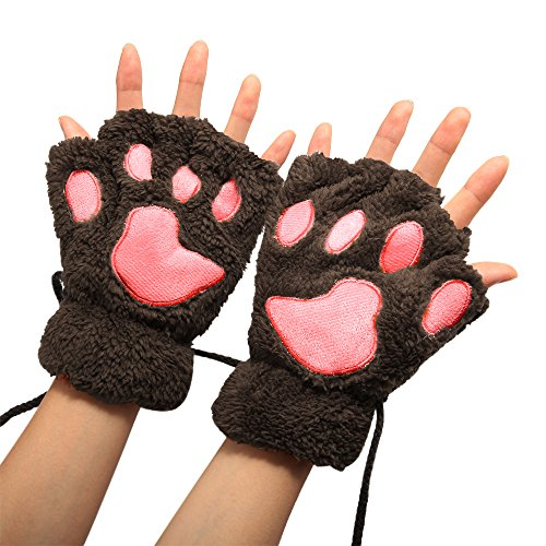 Arshiner Women Bear Plush Cat Paw Claw Glove Soft Winter Gloves for Halloween(Dark Brown), Dark Brown-1, One Size -