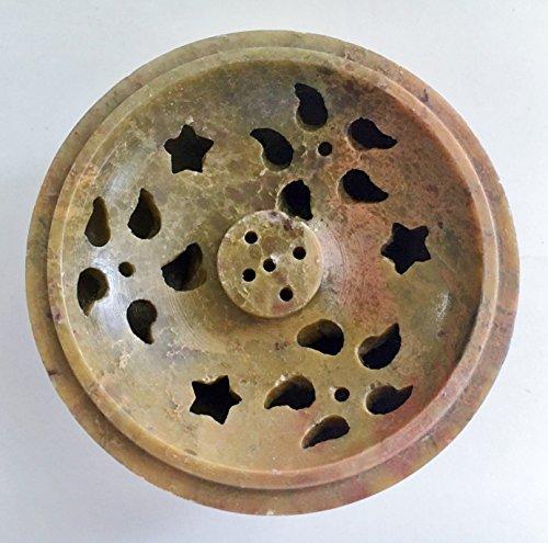 Soapstone/Stone Incense Burner Bowl, Pot, Jar for Cones, Sticks, Resins or Charcoal-Flower/Heart/Teardrop Pattern