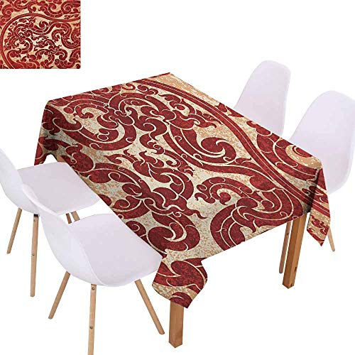 Marilec Washable Table Cloth Antique Thai Culture Vector Abstract Background Flower Pattern Wallpaper Design Artwork Print Table Decoration W60 xL84 Ru Great for Buffet - Italian Basketball Charm