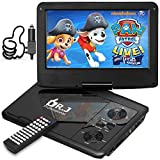 "5 Hours DR.J 9.5"" Swivel Screen Portable DVD Player with Build-in Rechargeable Battery"