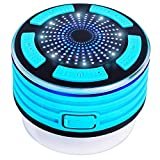 KONG KIM LED Portable Wireless Bluetooth Speakers V4.0 With Waterproof IP67. HD Sound and Bss For iPhone iPod iPad Phones (Black & Sky Blue)
