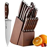 Knife Set,15-Piece Kitchen Knife Set with Block Wooden,Chef Knife Set with Sharpener,Germany High Carbon Stainless Steel Knife Block Set,Boxed Knife Sets,ROMEKER Review