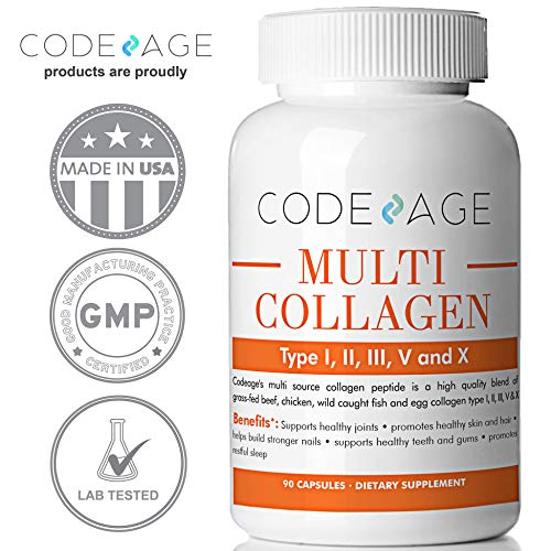 51 5JGJrIBL - Codeage Multi Collagen Protein Capsules, Type I, II, III, V, X, Grass Fed, All in One Super Bone Broth with Collagen, 90 Count