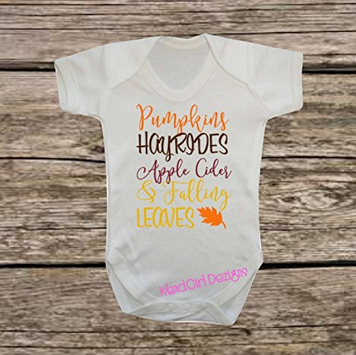 Pumpkins Hayrides Apple Cider & Falling Leaves Onesie Baby Bodysuit Thanksgiving ()