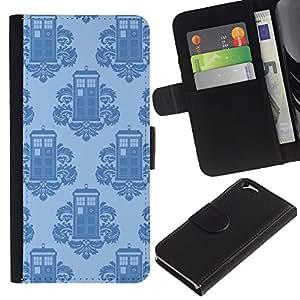 """A-type (Teléfono rococó stand Patrón Quién"""") Colorida Impresión Funda Cuero Monedero Caja Bolsa Cubierta Caja Piel Card Slots Para Apple (4.7 inches!!!) iPhone 6 / 6S"""