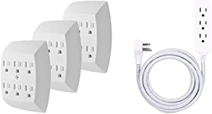 GE 6-Outlet Adapter, 3 Pack, 3-Prong, Grounded, Wall Charging Station, 51532, Standard   White & Designer Extension Cord, Braided Power Cord, 8 ft, 3 Grounded Outlets, Gray/White, 38433