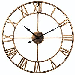 Soledi Vintage Clock European Retro Handmade Iron 3D Decorative Wall Clock - Gold