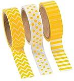 Fun Express Yellow Washi Tape Set (3 Rolls per Unit), 16'