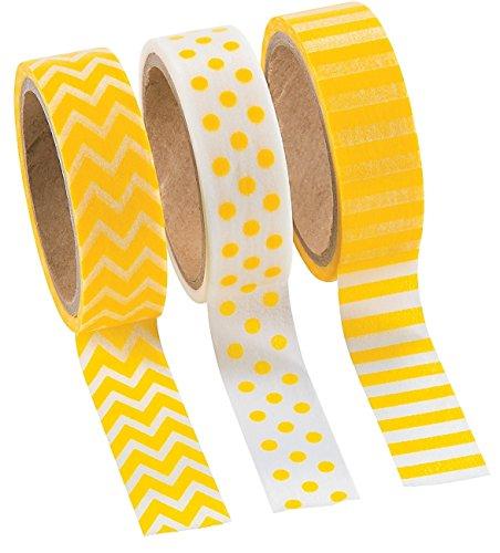 16' Roll (Fun Express Yellow Washi Tape Set (3 Rolls per Unit), 16')