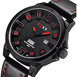 Zeiger New Mens Watch Unusual Vietnam Military Sport Wrist Watch 3D Big face Forces Marine Corps Swiss Army (Black)