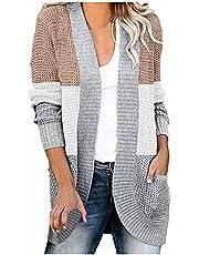 Darringls Gebreid vest voor dames, grof gebreid, casual, cardigan, lange mouwen, effen kleur, cardigan, mantel, vrijetijdsjas, lange mouwen, gebreide cardigan met zakken