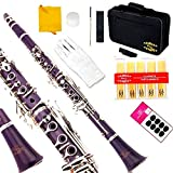 Glory Purple/Silver keys B Flat Clarinet with Second Barrel, 11reeds,8 Pads cushions,case,carekit,Click to see More colors