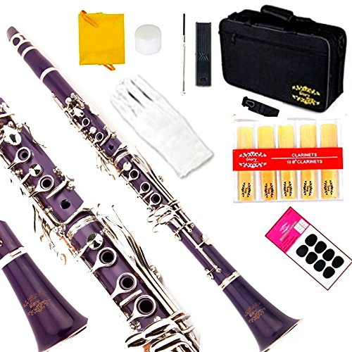 Glory Purple/Silver keys B Flat Clarinet with Second Barrel, 11reeds,8 Pads cushions,case,carekit,Click to see More colors by GLORY