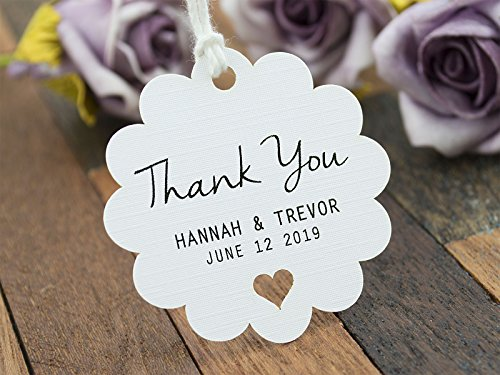 Summer-Ray 50 Personalized Mini White Wedding Favor Gift Tags Scallop Tags by Summer-Ray.com