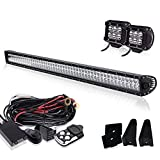 89 f150 grill - 52 Inch 300W Offroad Led Work Light Bar Combo Beam + 4In Pods Cube Driving Fog Lights + Wiring Harness On Grill Windshield Roof For Tractor Chevy Van Off-Road SUV Truck Jeep Wrangler JK Boat UTV