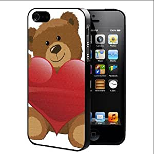 Brown Teddy Bear Holding Red Heart (iPhone 5/5s) Hard Snap on Phone Case Cover