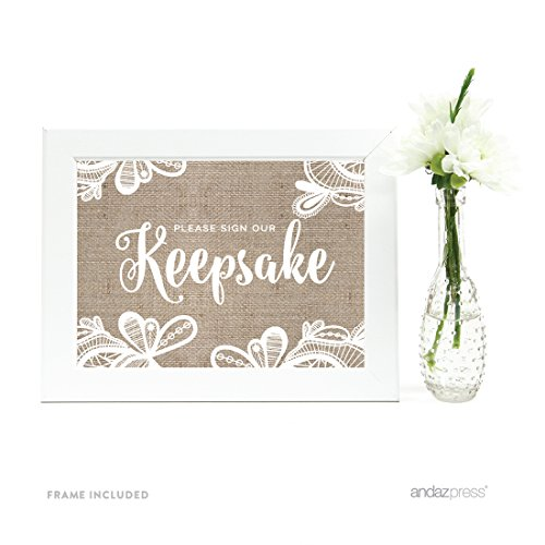 Andaz Press Wedding Framed Party Signs, Burlap Lace Printed Cardstock,
