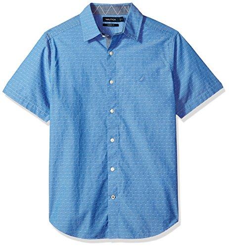 Nautica Men's Short Sleeve Signature Print Button Down Shirt, Rivieria Blue, X-Large
