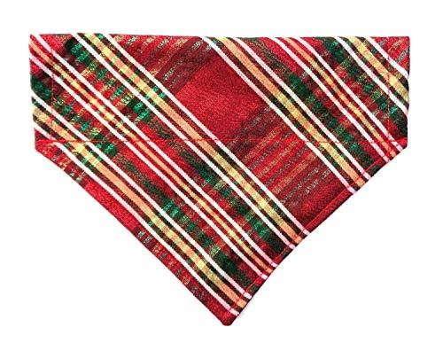 Metallic Shine Festive Scottish Plaid Reversible Christmas St Patrick's Dog Bandanna, Over the Collar Slip-On Thread Thru No-Tie Holiday - Neckwear Holiday