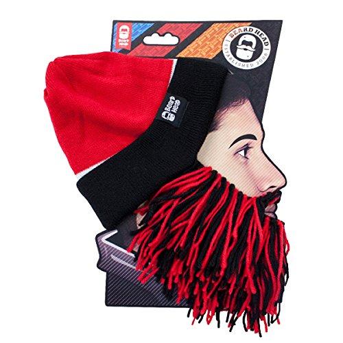 Beard Head Tailgate Atlanta Knit Beanie Beard Hat (Red & Black)]()