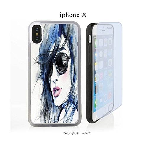 iPhone X Case, vanfan iphone X/10 Case-h Sunglasses and Blue Hair Portrait Handrawn(transparence) Design Hard PC Back Protective Cover Skin Case For Apple iphone X-iPhone X Screen Protector - Skin Sunglasses Cancer