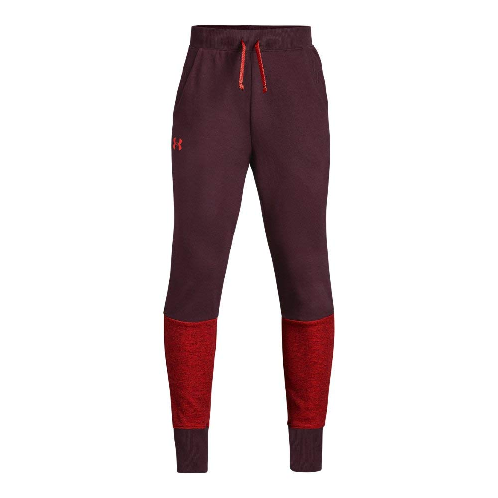Under Armour Boys Double Knit Tapered Pants, Dark Maroon (600)/Radio Red, Youth Medium by Under Armour