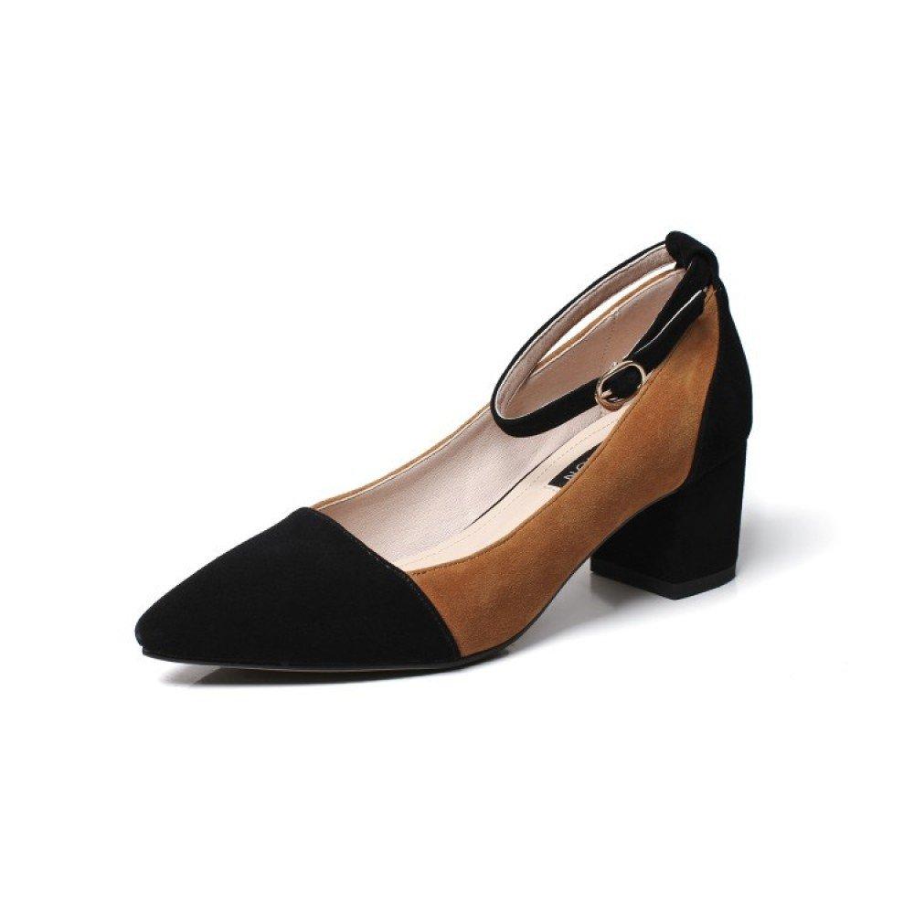 MUYII Frauen Starke Ferse Sandalen Flache Schnalle Freizeitschuhe  | Bevorzugtes Material  | Die Königin Der Qualität