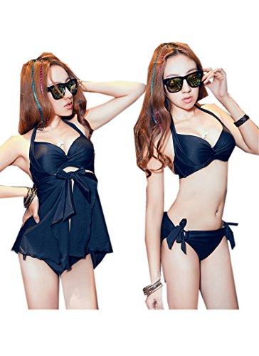 TM Deep V Halter Ruffle Padded Bra one piece bikini swimsuit plus size women Black