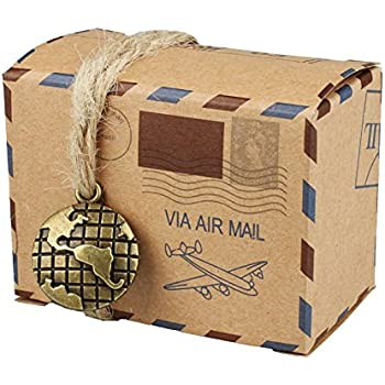 eeb914f7f44 vLoveLife 50pcs Vintage Inspired Airmail Design Favor Boxes Bonbonniere  With Globe Kraft Paper Candy Boxes Gift Box With Burlap Twines for wedding  airplane ...