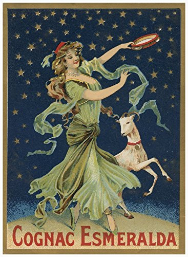 Vintage alcohol bottle label for Cognac Esmeralda showing a dancing woman with a tambourine and a goat Poster Print by unknown (24 x 36)