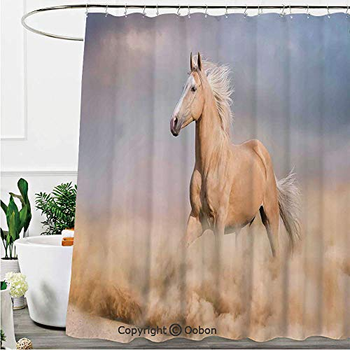 (Oobon Shower Curtains, Palomino Horse in Sand Desert with Long Blond Male Hair and Tail Power Wild Animal Theme, Fabric Bathroom Decor Set with Hooks, 72 x 78 Inches)