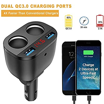 GemCoo Quick Charge 3.0 Car Charger Splitter 100W 12V/24V Cigarette Lighter Splitter 2 Sockets Car Power Adapter for iPhone iPad Android Samsung GPS Dash Cam DVD Player: Electronics