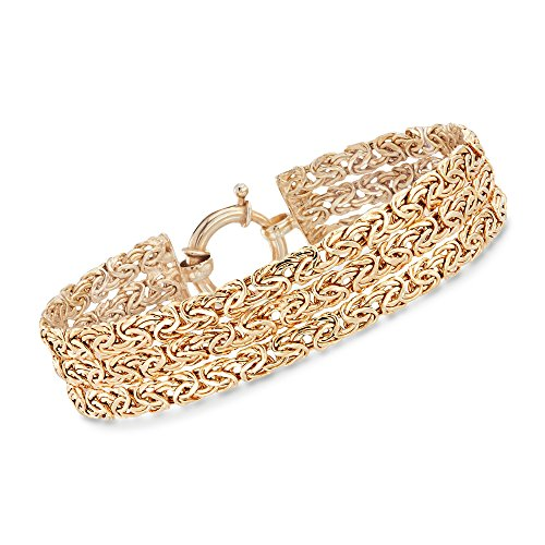 Ross-Simons 18kt Yellow Gold Over Sterling Silver Three-Row Byzantine Bracelet