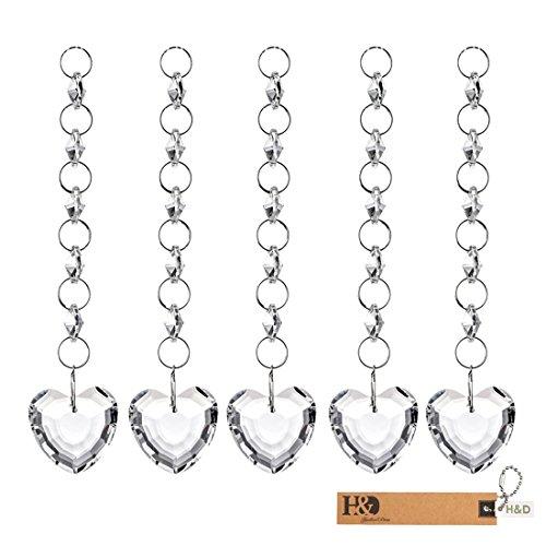 H&D 15PCS Crystals Chandelier Ornaments Hanging Prisms Fengshui Suncatcher Rainbow Pendant Maker (heart hanging drop) (Crystal Rainbow Heart)